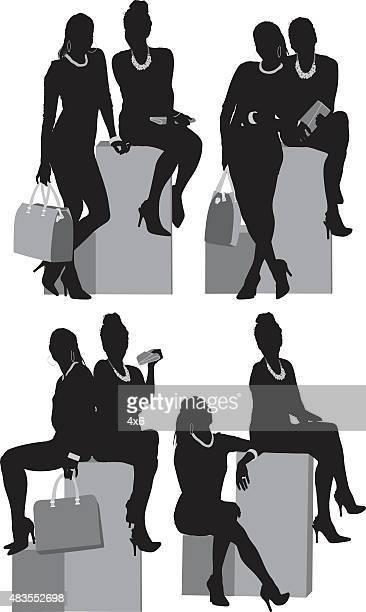 stockillustraties, clipart, cartoons en iconen met female model posing - opgestoken haar