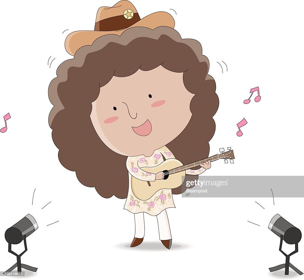 female musician playing ukulele
