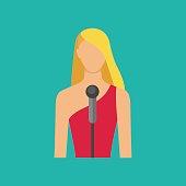 Female musician with microphon. Singing girl avatar. Vector illu