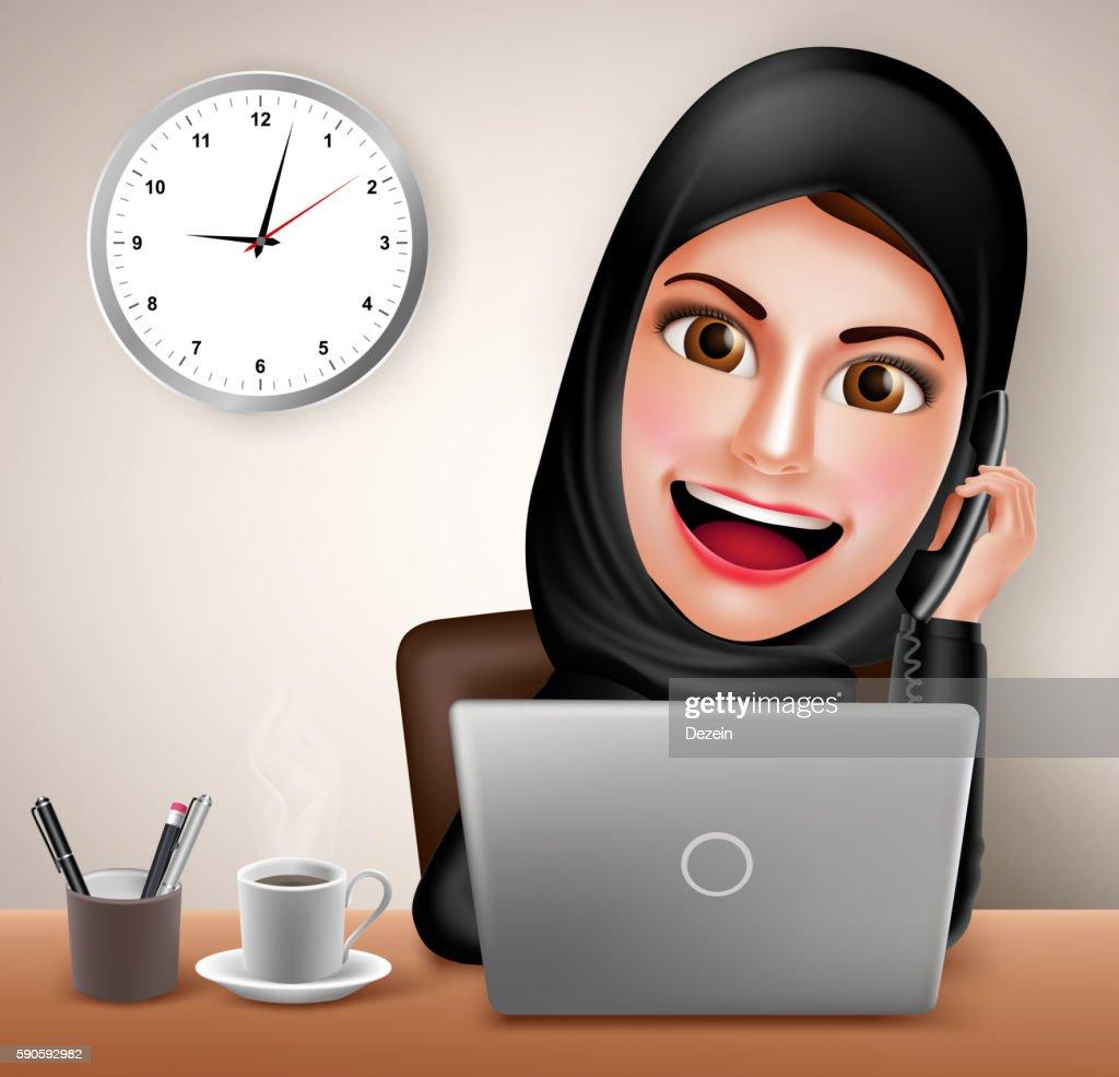 Female muslim arab vector character happy working in office desk