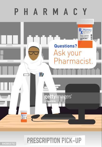ヒジャーブとイスラム教徒女性の薬剤師