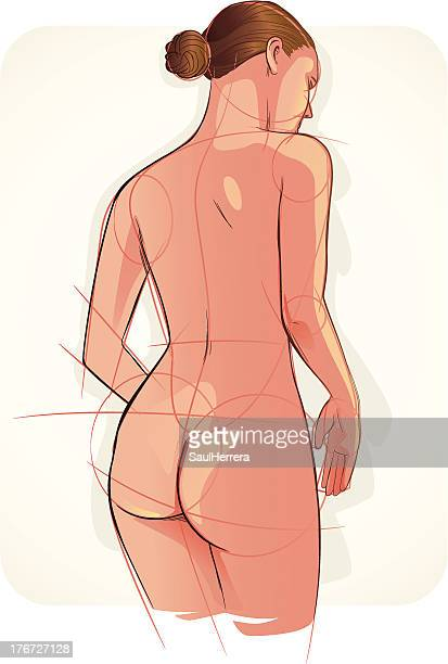 illustrazioni stock, clip art, cartoni animati e icone di tendenza di femmina nudi - donna nuda