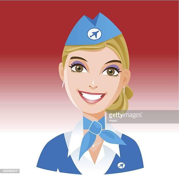 雌職業:stewardess - 乗り物に乗って点のイラスト素材/クリップアート素材/マンガ素材/アイコン素材
