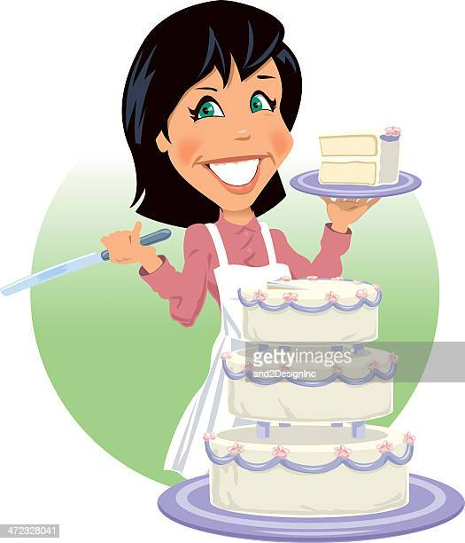 female pastry chef - wedding cake stock illustrations