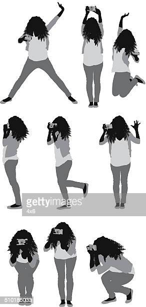 female photographer taking pictures - cardigan sweater stock illustrations, clip art, cartoons, & icons