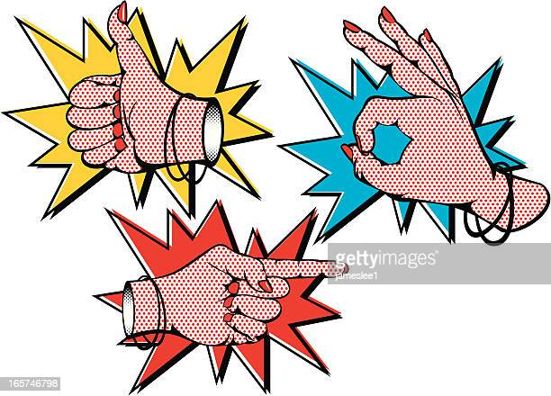 ilustrações, clipart, desenhos animados e ícones de fêmea mãos popart - apontando sinal manual