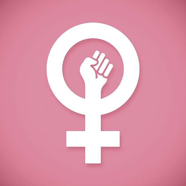 female power raised fist - femininity stock illustrations