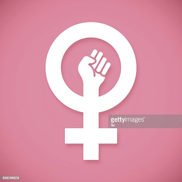 female power raised fist - confidence stock illustrations