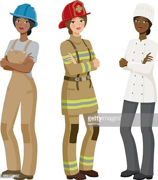 female professions icon set - uniform stock illustrations