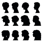 Female profiles with different hairstyles