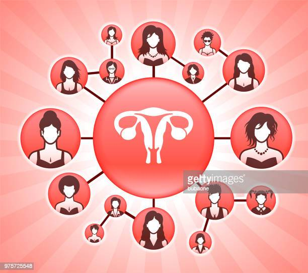 female reproductive system women's rights pink vector background - menopause stock illustrations, clip art, cartoons, & icons