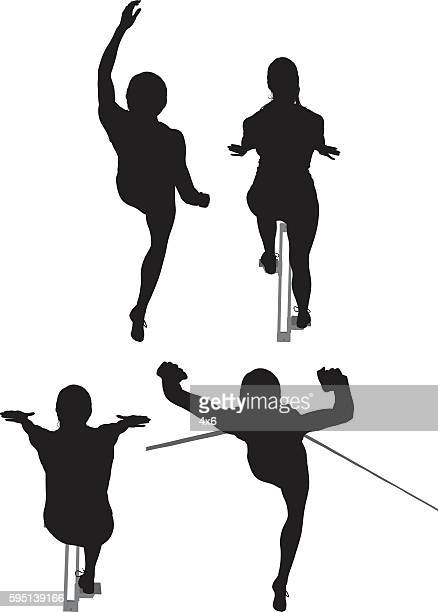 Female runner in various actions