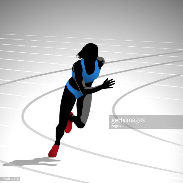 female runner sprinting - track and field stock illustrations, clip art, cartoons, & icons