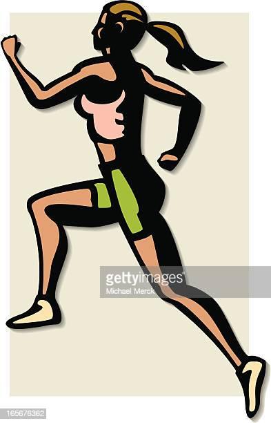 female runner - women's track stock illustrations, clip art, cartoons, & icons