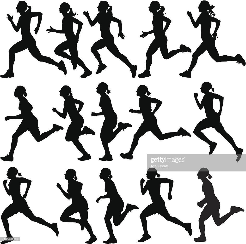 Female runners in silhouette : stock illustration