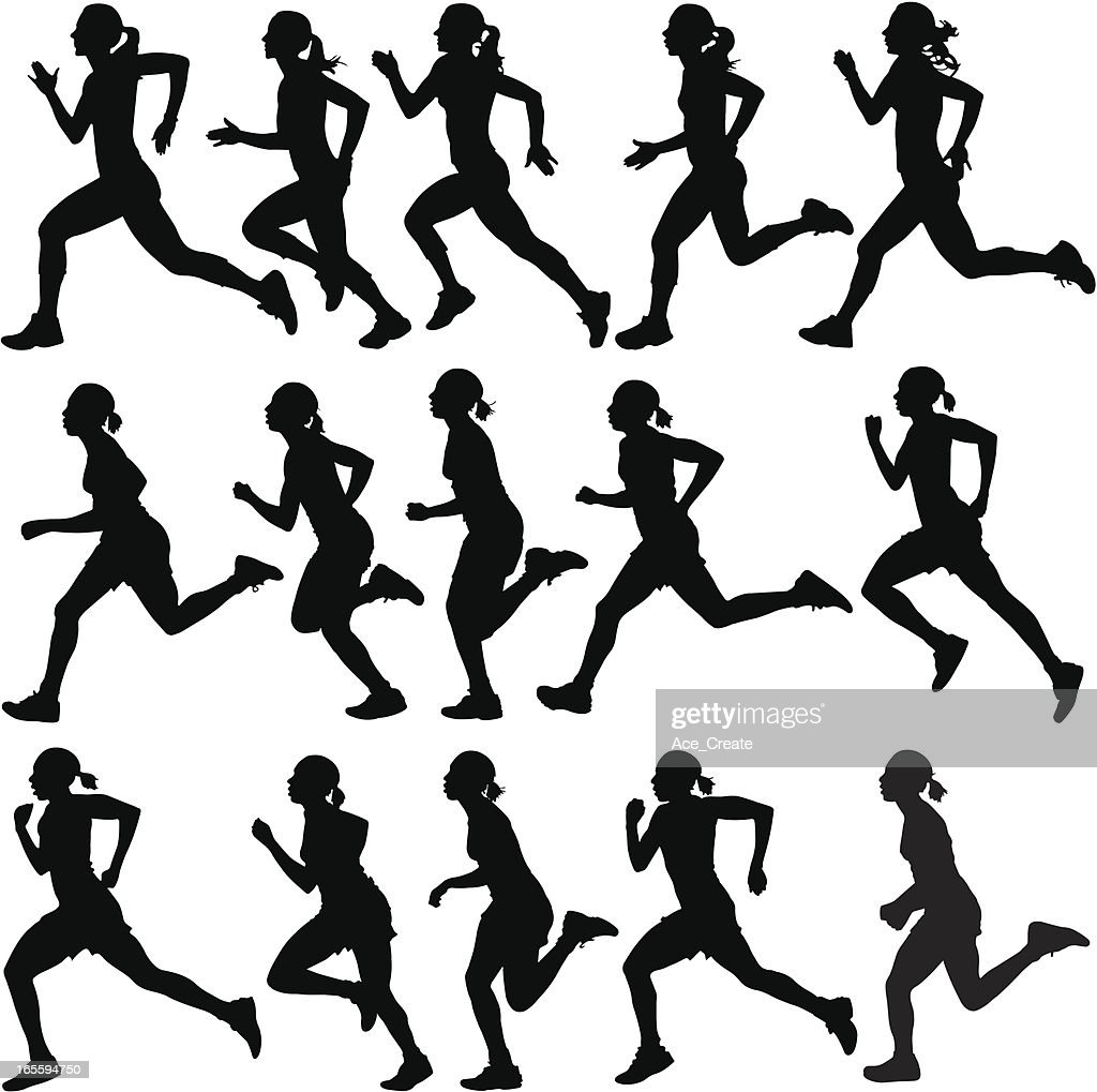 Female runners in silhouette