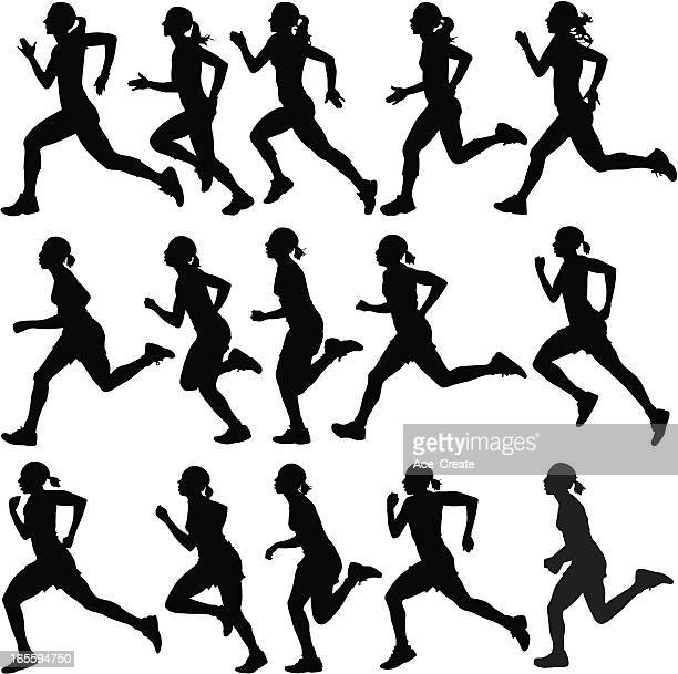 female runners in silhouette - only women stock illustrations, clip art, cartoons, & icons