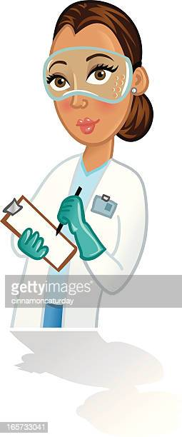 female scientist is lab coat with clipboard - updo stock illustrations, clip art, cartoons, & icons