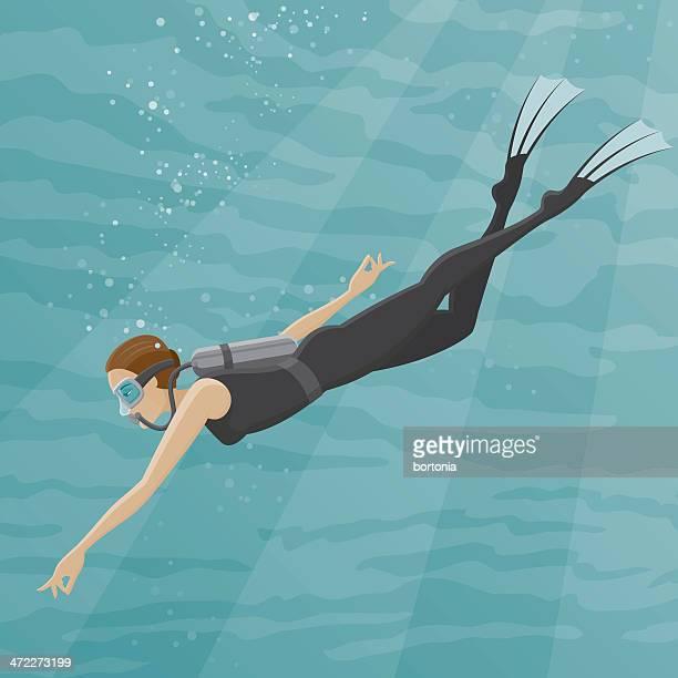 female scuba diver - scuba diving stock illustrations