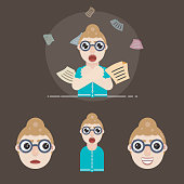 Female Secretary Character Design `Flat Vector Illustration`