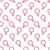 Female sex symbol icon seamless pattern vector background