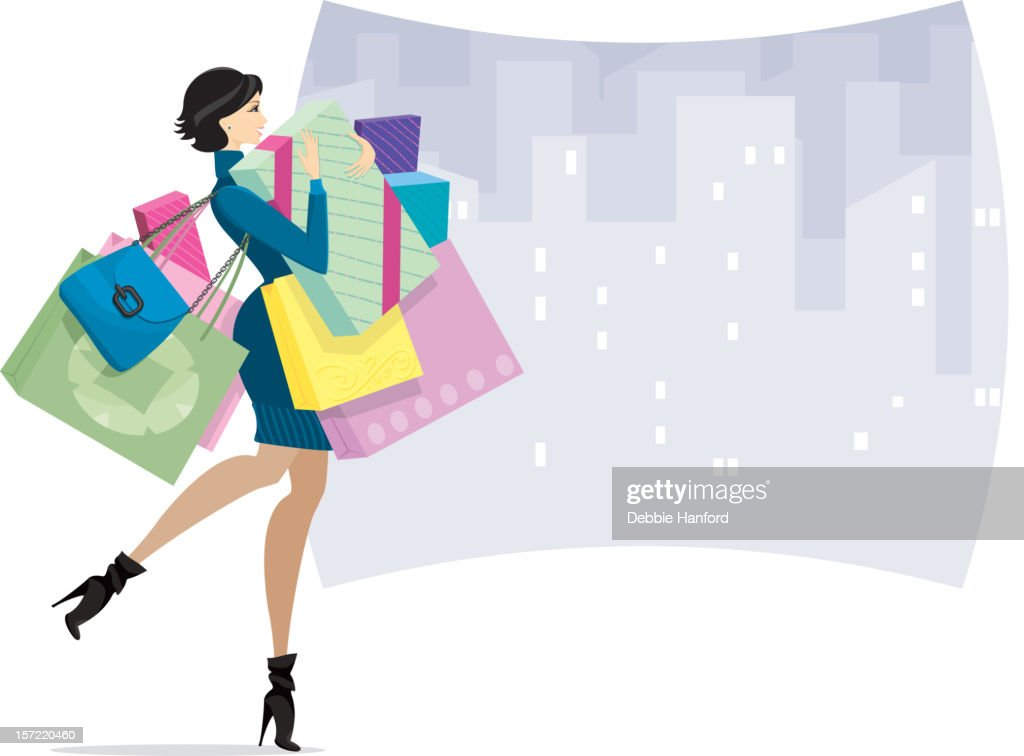 Female Shopper in town or Shopaholic : stock illustration