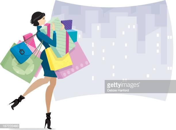 weibliche shopper in der stadt oder kaufsucht - einkaufen stock-grafiken, -clipart, -cartoons und -symbole