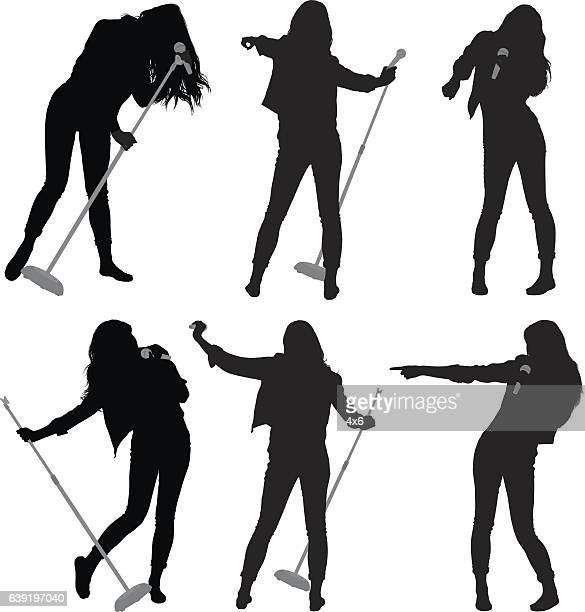female singing with microphone - microphone stand stock illustrations