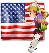 Female skater near the USA flag