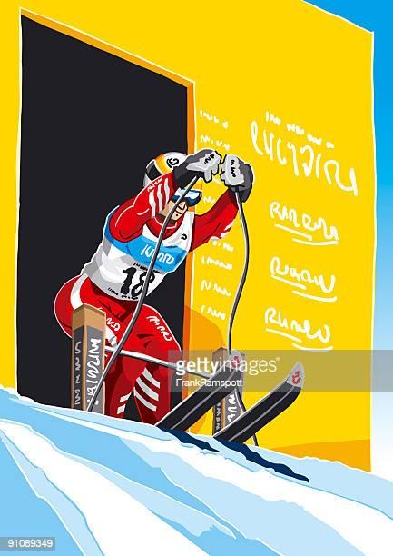 illustrations, cliparts, dessins animés et icônes de femme skieur début - ski alpin
