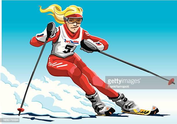 Female Slalom Skier Red