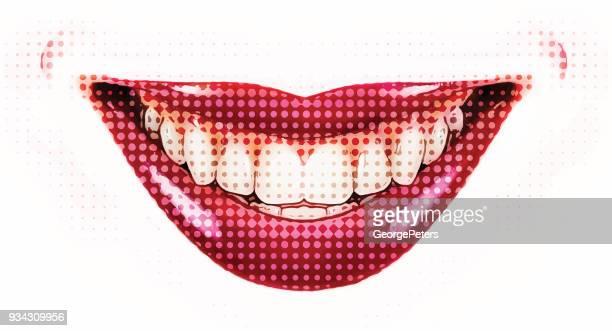 Weibliche Lächeln, Retro Halbton Punkt