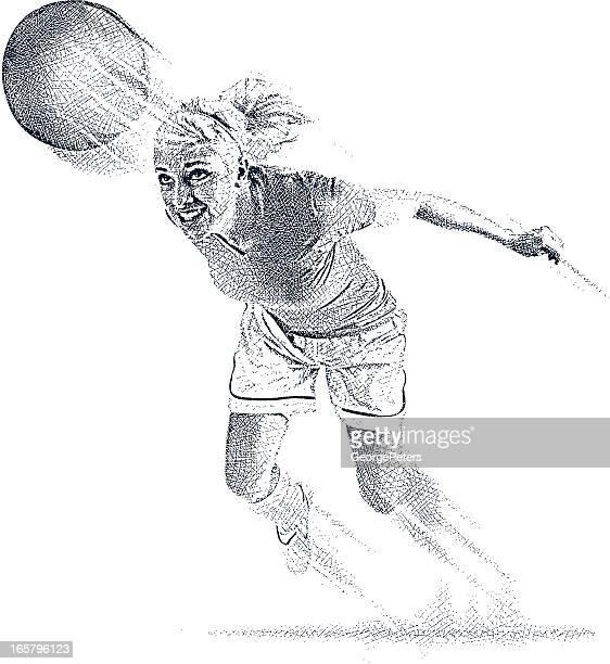 female soccer player heading the ball - heading the ball stock illustrations