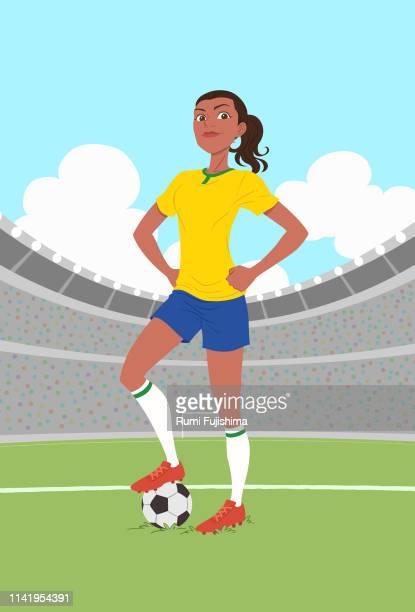 女子サッカー選手 - 誇り点のイラスト素材/クリップアート素材/マンガ素材/アイコン素材