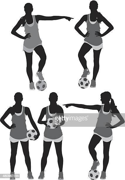 stockillustraties, clipart, cartoons en iconen met female soccer player - only women