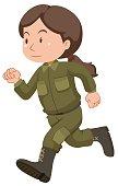 Female soldier in uniform running