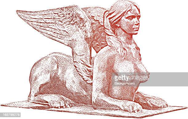 female sphinx - the sphinx stock illustrations, clip art, cartoons, & icons