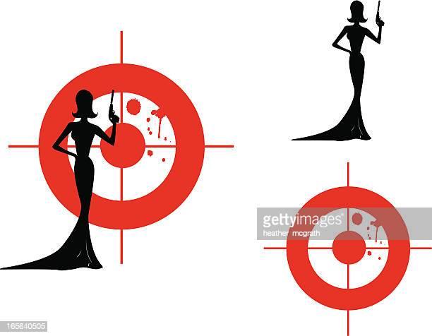 ilustrações de stock, clip art, desenhos animados e ícones de fêmea espião com alvo - mulher fatal