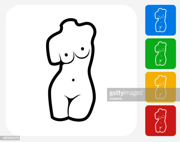 female statue icon flat graphic design - chest torso stock illustrations, clip art, cartoons, & icons