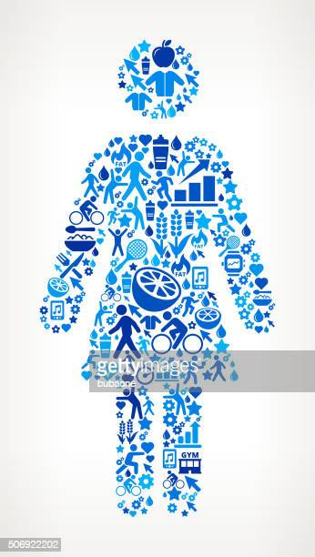 female stick figure fitness and diet vector button pattern - body conscious stock illustrations, clip art, cartoons, & icons