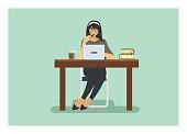 female student studying alone, isolated flat illustration