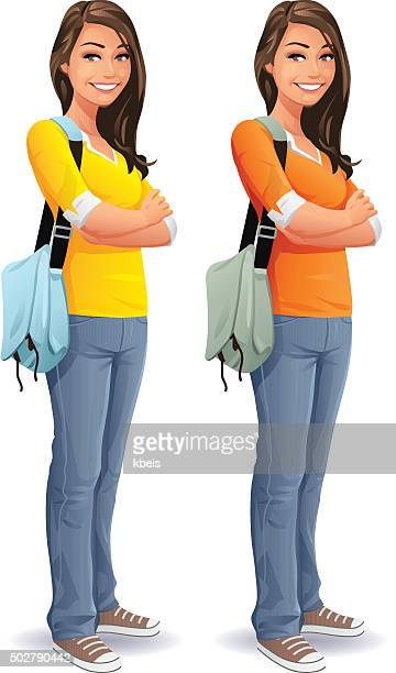 female student with bag - adolescence stock illustrations