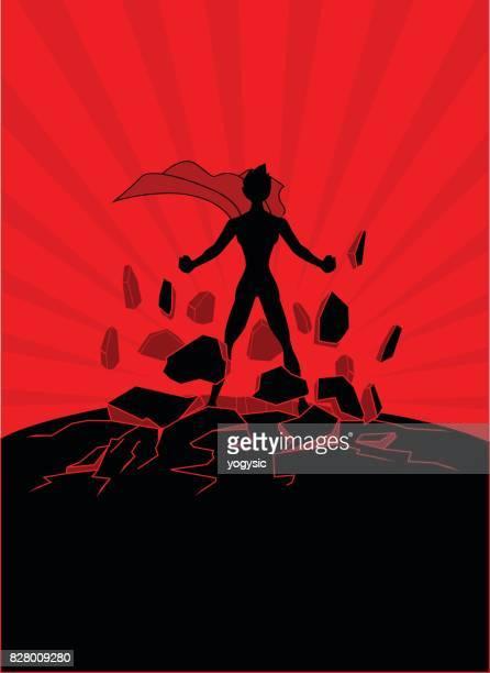 Female Superhero Bursting Out Energy Damaging the Ground Silhouette