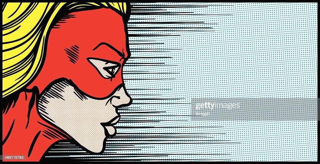 Female superhero face profile