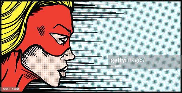 Weibliche Superheld Gesicht Profil