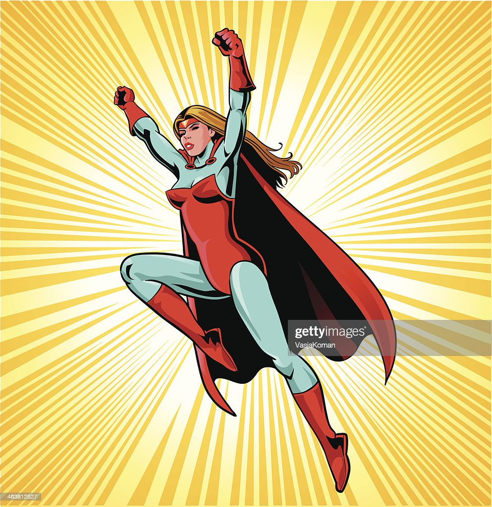 Female Superhero In Action Vector Art   Getty Images