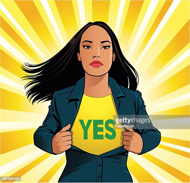 Female Superhero Tearing Off Shirt With Yes Sign