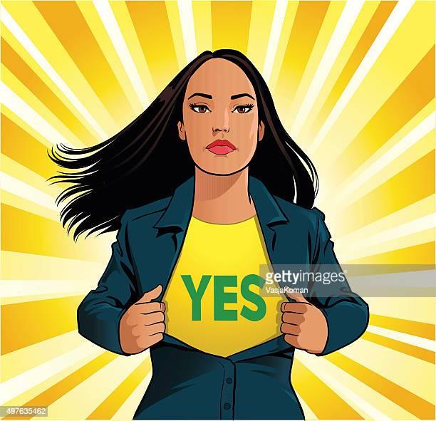 Femme en train de super-héros chemise avec Oui panneau