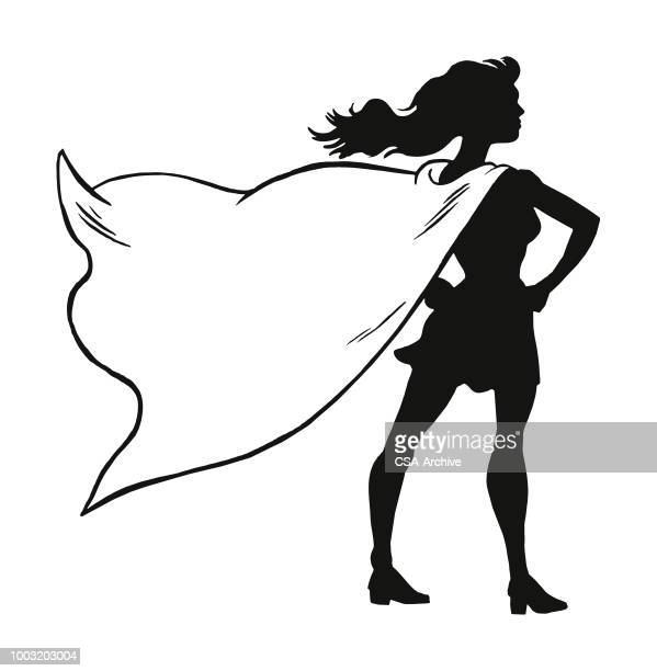 female superhero wearing a cape - battle of the sexes concept stock illustrations