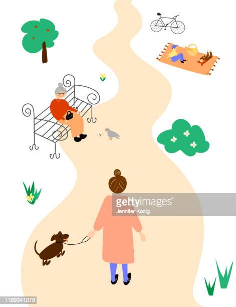 female taking a walk in a park illustration - footpath stock illustrations